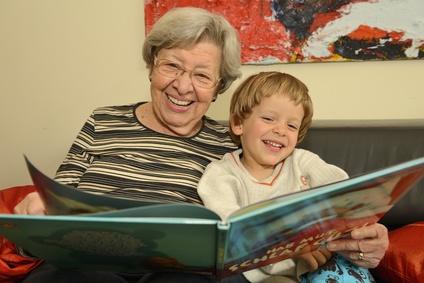 Grandma Reads Book with Grandchild 1